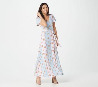 Du Jour Petite Short Sleeve Printed Wrap Maxi Dress