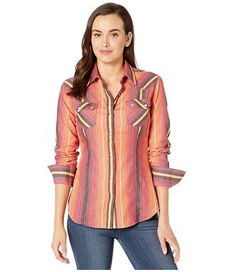 Rock and Roll Cowgirl Long Sleeve Striped Snap B4S2604