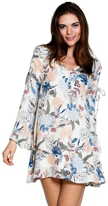 En Creme Junior's V Neck Long Sleeve Bohemian Floral Print Tunic Dress