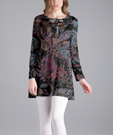Lily Black Floral Tie-Neck Long-Sleeve Tunic - Plus Too