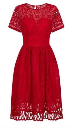 Dorothy Perkins Womens Chi Chi London Red Crochet Midi Skater Dress, Red
