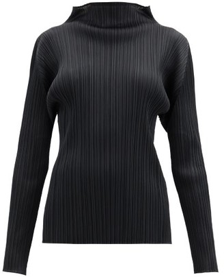 Pleats Please Issey Miyake High-neck Technical-pleated Top - Black