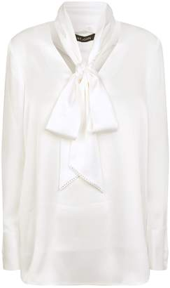 St. John Satin Neck-Tie Blouse