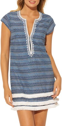 BLEU by Rod Beattie Take a Dip Plunge Neck Fringe Cover-Up Dress