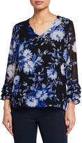 Calvin Klein Floral Tiered Ruffle-Sleeve Blouse