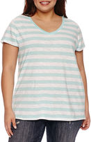 Boutique + + Short Sleeve V Neck T-Shirt-Womens Plus