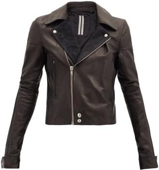 Rick Owens Dracubiker Cropped Leather Biker Jacket - Black
