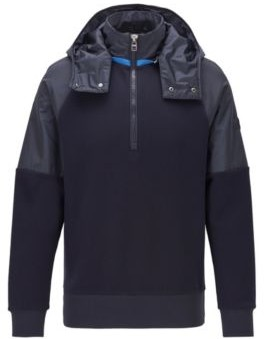 HUGO BOSS Hybrid Sweatshirt With Detachable Hood - Dark Blue