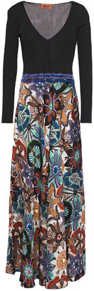 Missoni Ribbed Knit-paneled Floral-print Satin Midi Dress