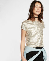 Express all-over sequin short sleeve tee