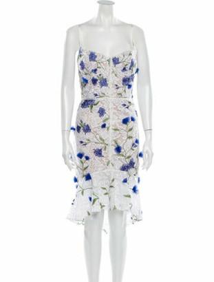 Marchesa Notte Lace Pattern Knee-Length Dress w/ Tags White