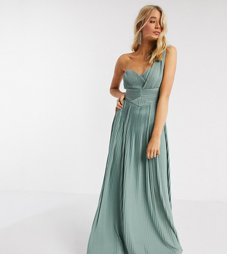 Asos Tall ASOS DESIGN Tall Premium one shoulder pleated panel maxi dress in spearmint