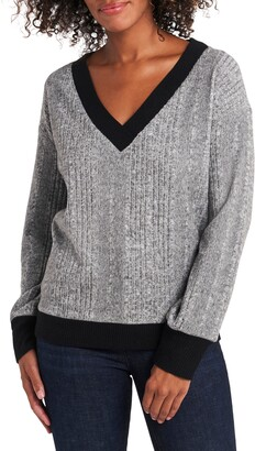 Vince Camuto Cozy Long Sleeve Brushed Rib V-Neck Top