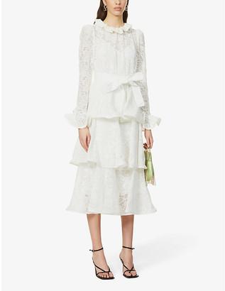 Zimmermann Lovestruck floral-broderie puff-sleeve cotton midi dress