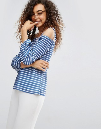 Asos Design Top in Stripe with Off Shoulder and Pretty Bell Sleeve-Navy