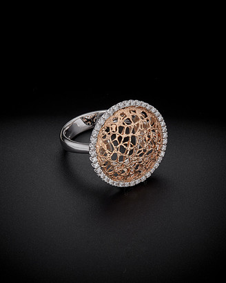 Italian Gold 18K Two-Tone Gold 0.30 Ct. Tw. Diamond Filigree Ring
