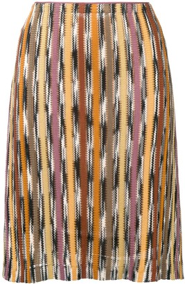 Missoni Pre Owned Patterned Stripe Knitted Skirt