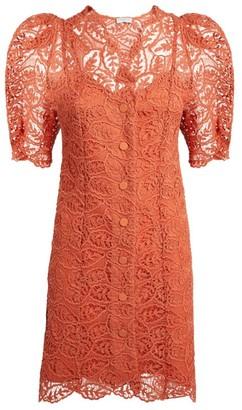 Sandro Paris Puff-Sleeved Lace Mini Dress