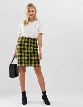 Pieces Tartan Zip Through A Line Mini Skirt-Yellow
