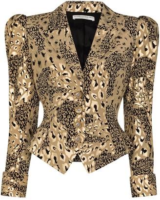 Alessandra Rich Animal-Print Puff-Sleeve Blazer