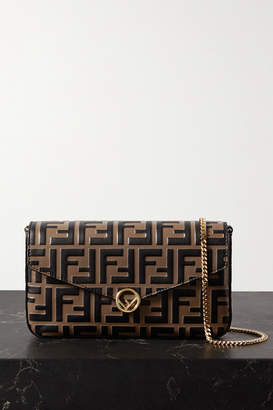 Fendi Embossed Leather Shoulder Bag - Brown
