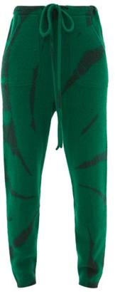 The Elder Statesman Lightning-dyed Cashmere Track Pants - Womens - Green