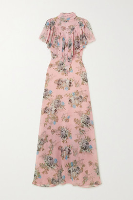 Preen by Thornton Bregazzi Ruffled Floral-print Georgette Maxi Dress - Pink