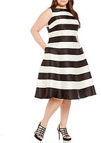 Adrianna Papell Plus Striped T-Length Dress