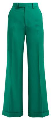 Gucci Kick Flared Wool Trousers - Womens - Green