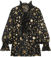 Roberto Cavalli Ruffled Star And Moon Fil Coupé Blouse - Black