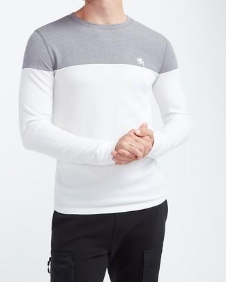 Express Color Block Waffle Knit Long Sleeve T-Shirt