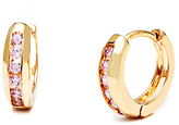 Sweet & Soft Gold & Pink Crystal Round Huggie Earrings