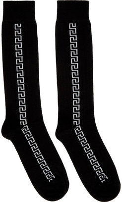 Versace Black and White Greek Key Socks