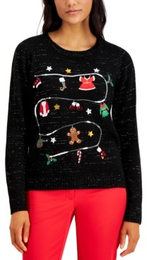Karen Scott Petite Christmas Laundry Pullover Sweater, Created for Macy's