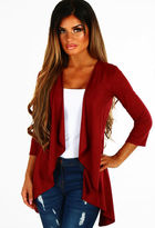 Pink Boutique Helene Burgundy Faux Suede Waterfall Jacket