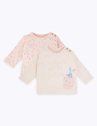 Marks and Spencer 2 Pack Pure Cotton Bunny Print Tops (7lbs-3 Yrs)