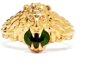 Gucci Lion-head Diamond, 18kt Gold & Diopside Ring - Green Gold