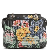 Fendi Small Dotcom Click Flower Quilted Leather Shoulder Bag - Black