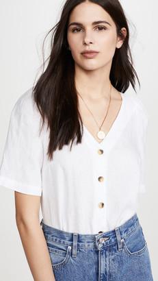 Stateside Linen Puff Sleeve Button Up Shirt