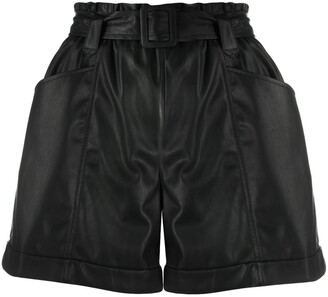 Liu Jo Ruched Faux Leather Shorts