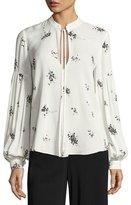 A.L.C. Ty Floral-Print Silk Top, White