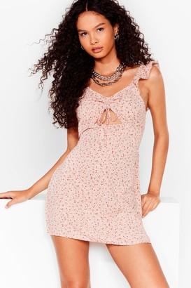 Nasty Gal Womens Take Me Cut-Out Floral Mini Dress - Blush