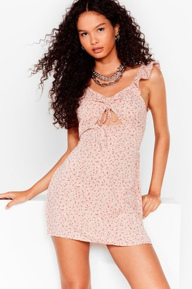 Nasty Gal Womens Take Me Cut-Out Floral Mini Dress - Pink - 6, Pink