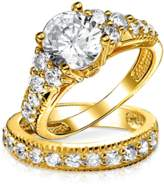 Bling Jewelry Gold Plated Cz Engagement Wedding Ring Set Sterling Silver.