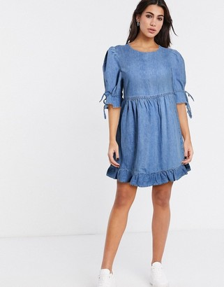 And other stories & denim frill hem smock dress in blue