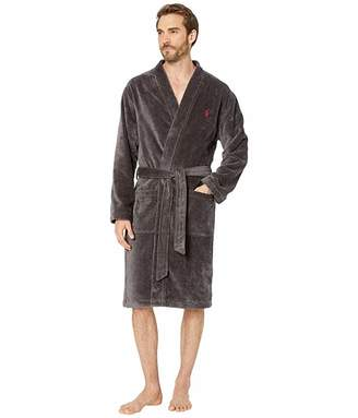 Polo Ralph Lauren Terry Velour Long Sleeve Kimono Robe (Dark Slate/Museum Grey Pony/RL2000 Red Pony Print) Men's Clothing