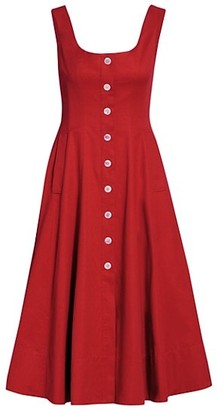 STAUD Loretta Button Front Midi Dress