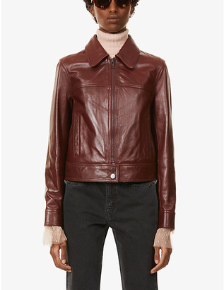 Claudie Pierlot Caria collared leather jacket