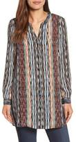 Nic+Zoe Petite Women's Color Streaks Silk Blend Tunic