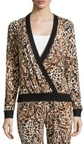 Cosabella Sapna Long-Sleeve Crossover Pajama Top, Brown Print